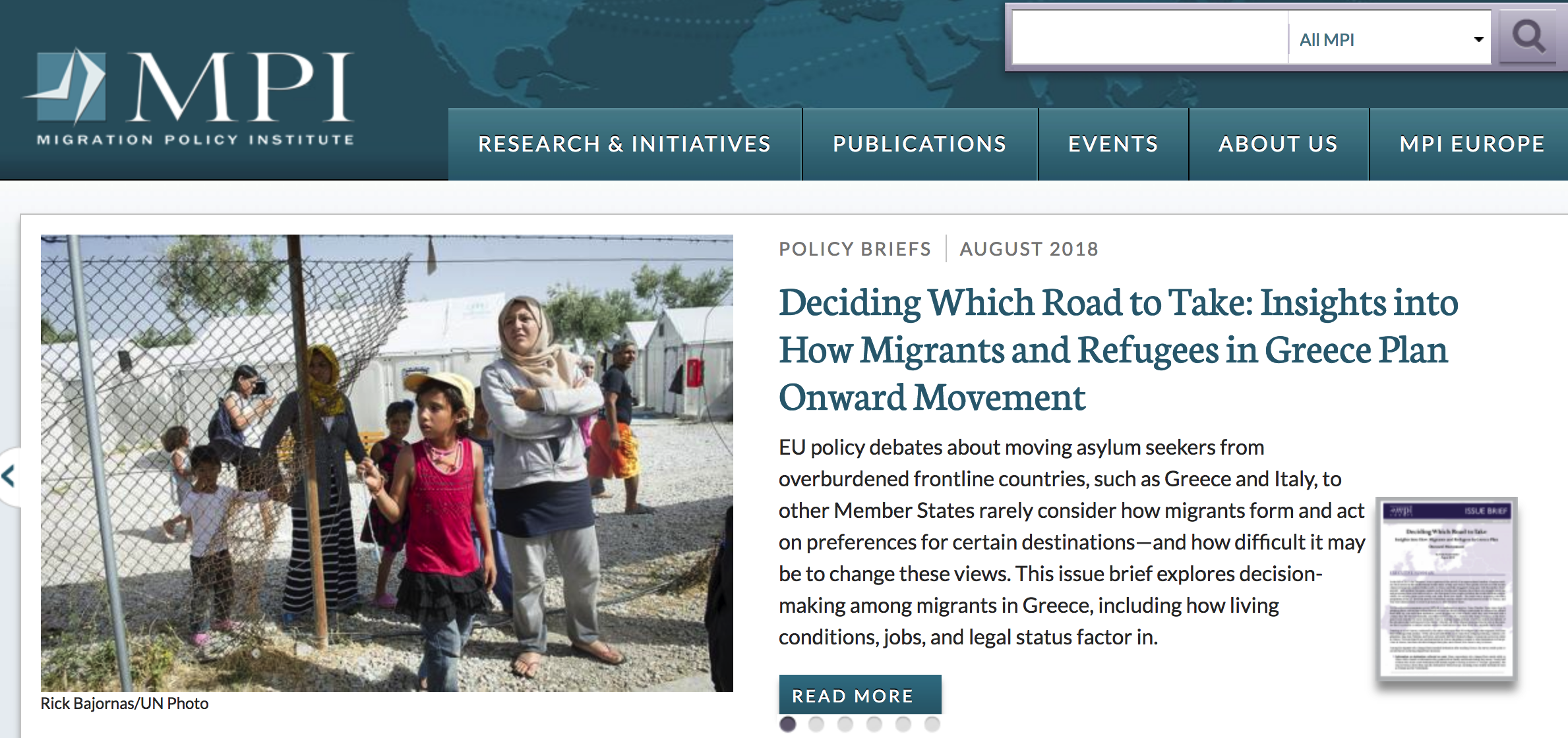 Deciding Which Road to Take: Insights into How Migrants and Refugees in Greece Plan Onward Movement- MPI Issue Brief